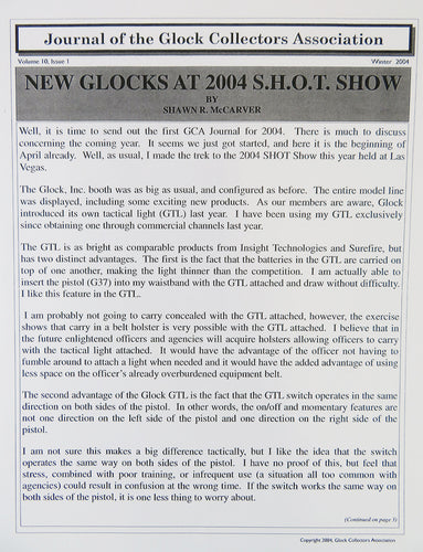 Journal of Glock Collectors Association Volume 10, Issue 1