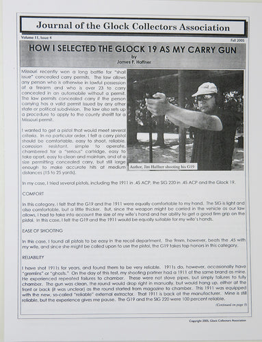 Journal of Glock Collectors Association Volume 11, Issue 4