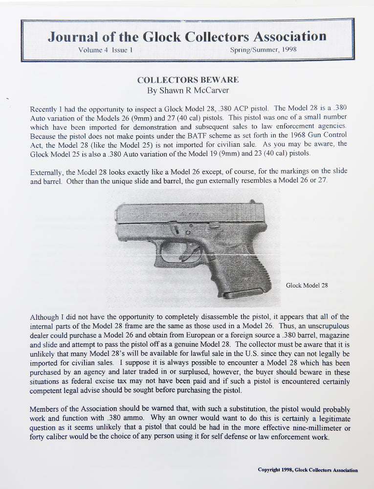 Journal of Glock Collectors Association Volume 4, Issue 1 reprint
