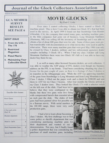 Journal of Glock Collectors Association Volume 6, Issue 3 reprint
