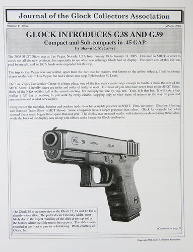 Journal of Glock Collectors Association Volume 11, Issue 1