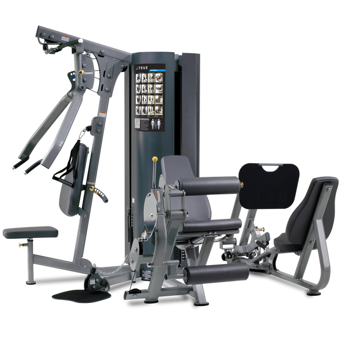 True Fitness Multi-station MP2.5 - 2 Stack/4 Stations-Upper Body, Leg Ext/Curl, Low Pulley, Leg press