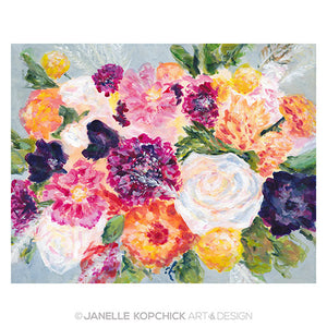 February Flowers Bouquet 2021 Original Floral Painting