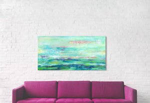 Lily Pads Original Abstract Painting 24x48