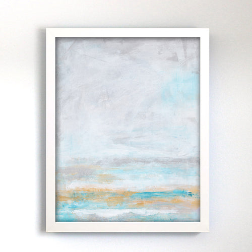 silver and blue abstract painting for gallery wall or living room