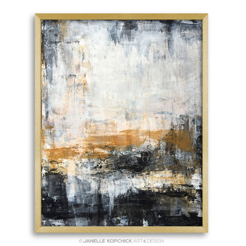 black and gold abstract framed art