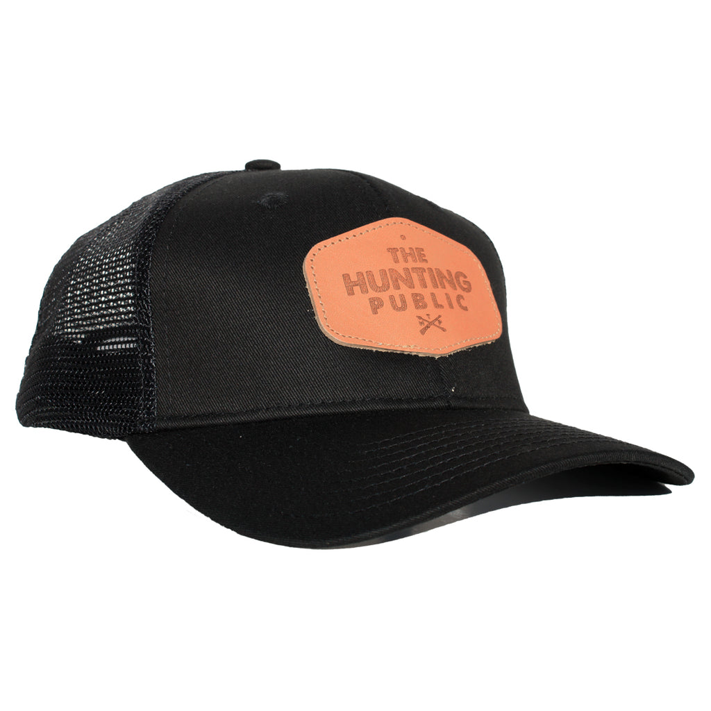 Black Leather Patch Hat- Bent Brim