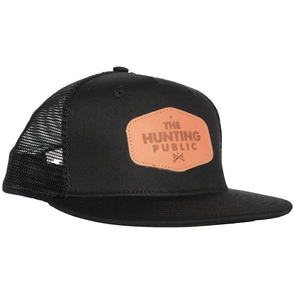 Black Leather Patch Hat- Flat Brim