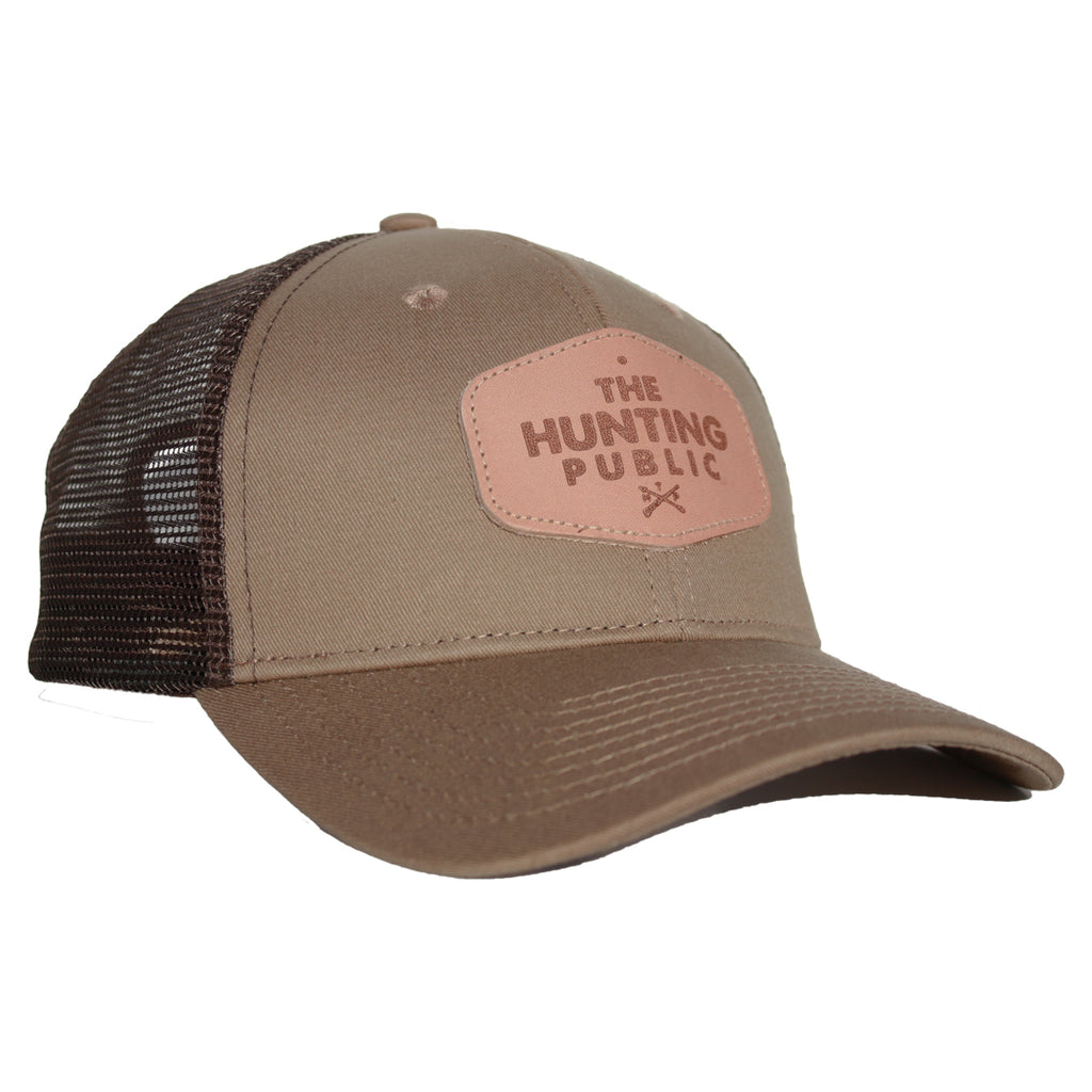 Brown Leather Patch Hat- Bent Brim