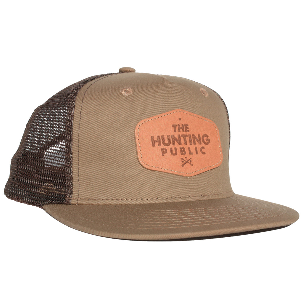 Brown Leather Patch Hat- Flat Brim