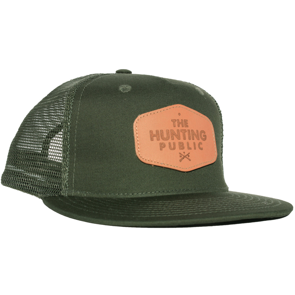 Green Leather Patch Hat- Flat Brim