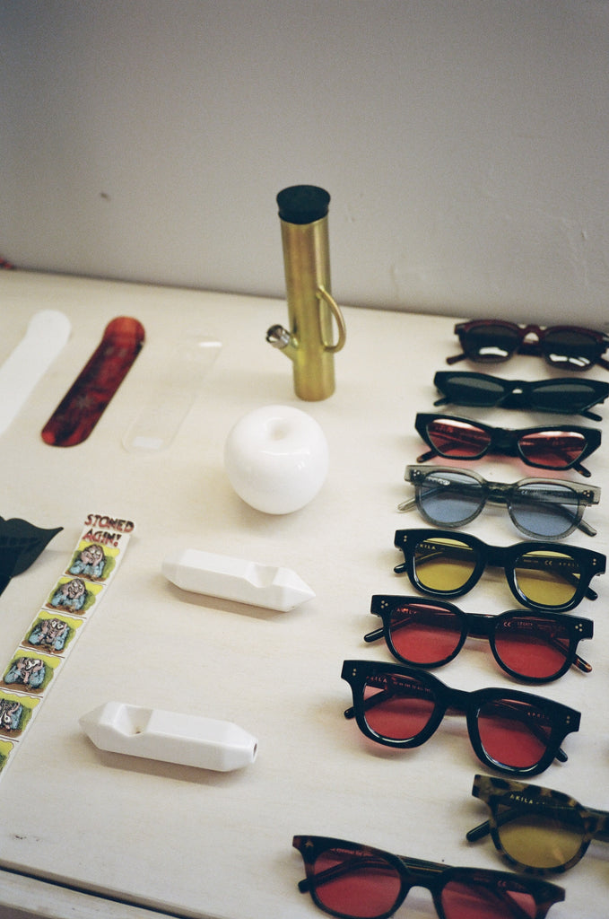 Smoking accessories and sunglasses at the Mister Green Life Store