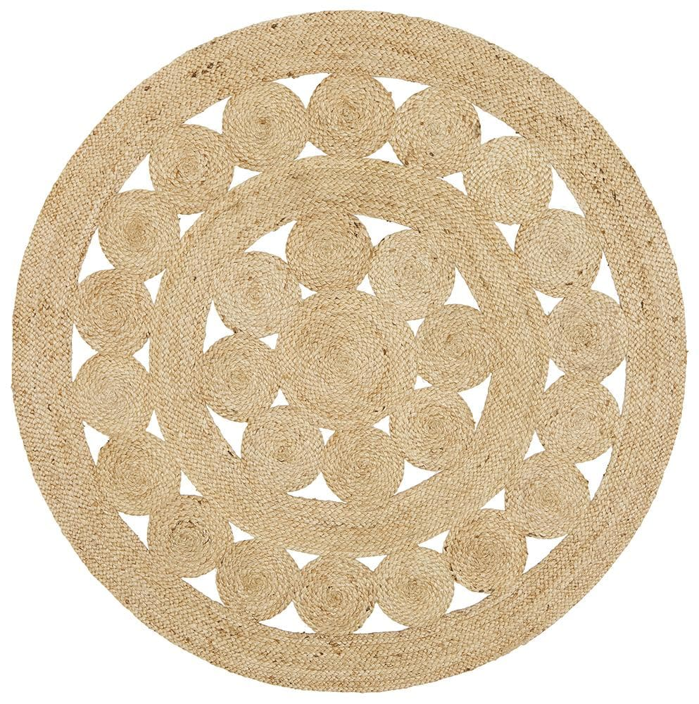 Daisy Jute natural round hand made rug
