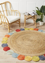 Lively jute natural multi round rug