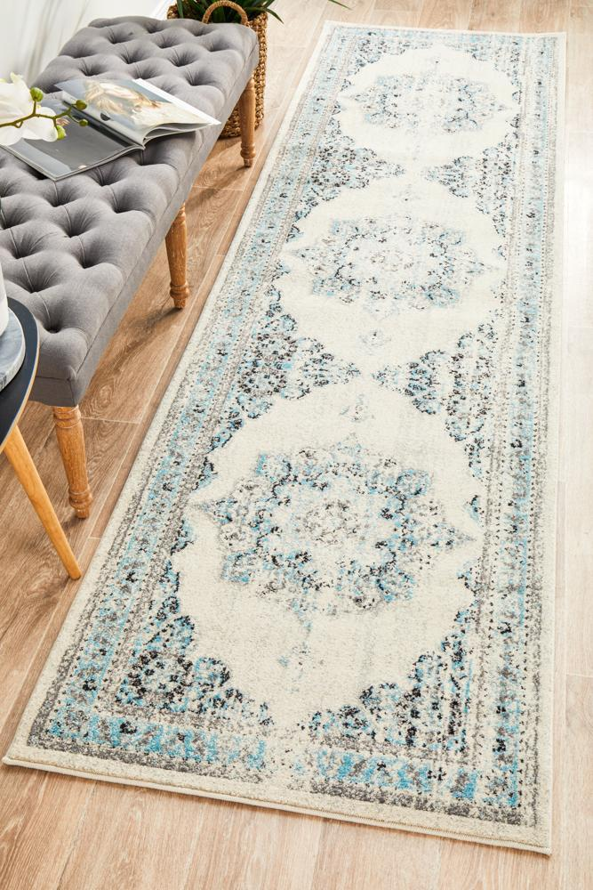 Century Emanuel white hall runner transitional traditional style rug