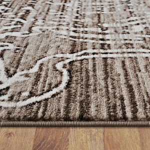 Desire 3445 Brown modern designer heat-set polypropylene hall runner