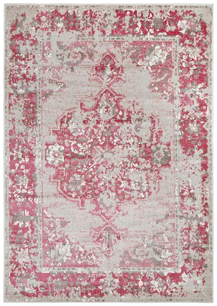 alexa transitional grey fuchsia rug folded
