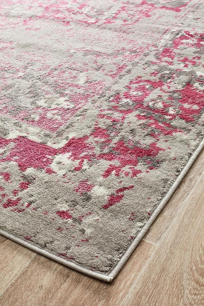 alexa transitional grey fuchsia rug corner