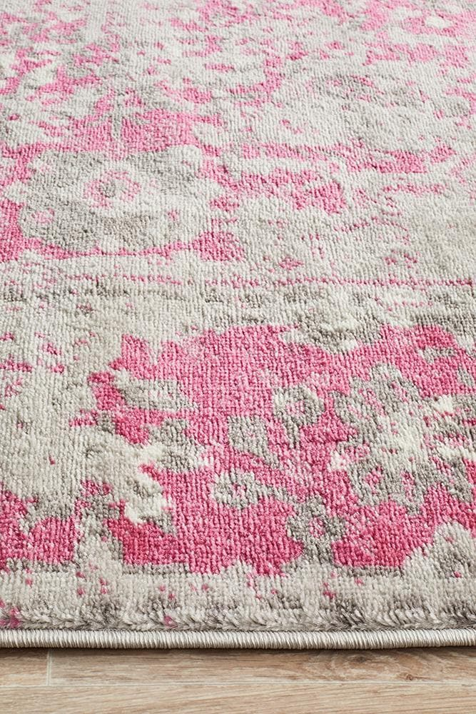 Load image into Gallery viewer, alexa transitional grey fuchsia rug edge