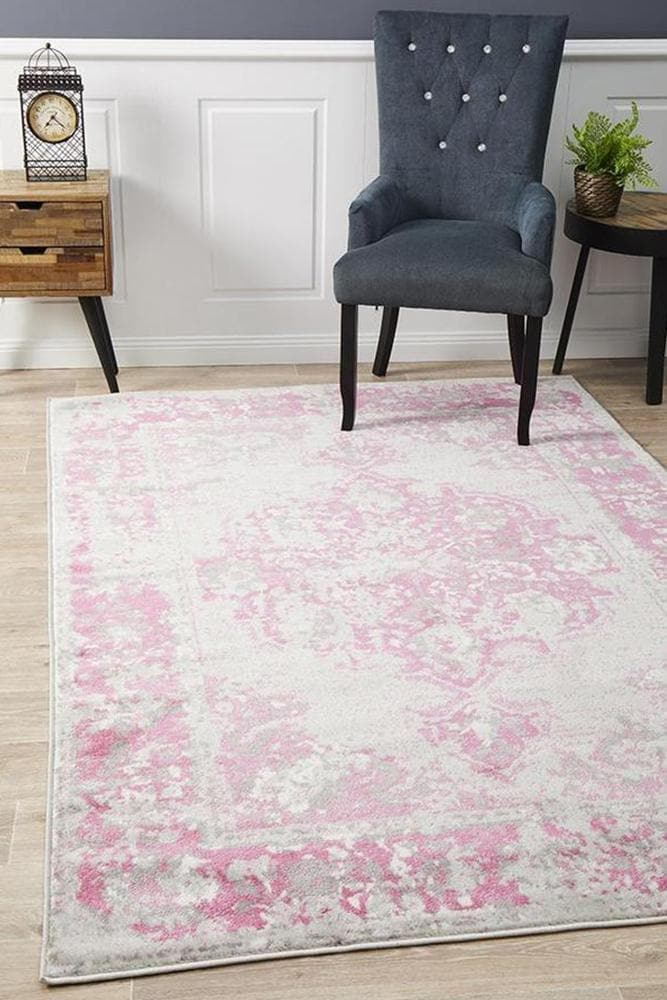 Load image into Gallery viewer, alexa transitional grey fuchsia rug styleshot