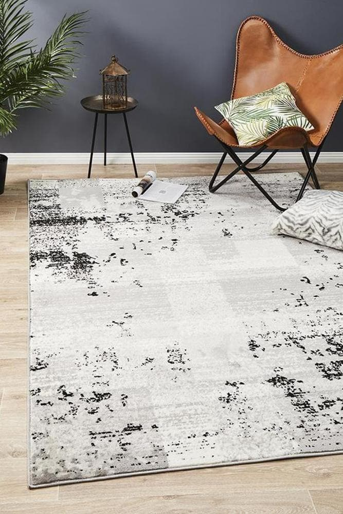 alicia distressed grey black rug styleshot