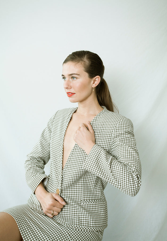 vintage houndstooth co-ord suit set