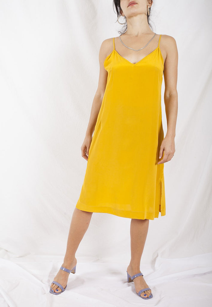 canary yellow slinky silk slip dress with spaghetti straps - a relaxed fit by graceland collection