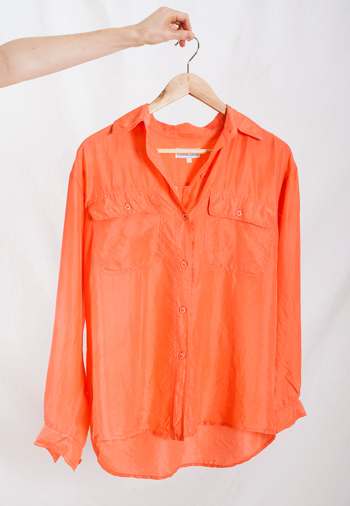 vintage watermelon relaxed fit silk shirt - M/L