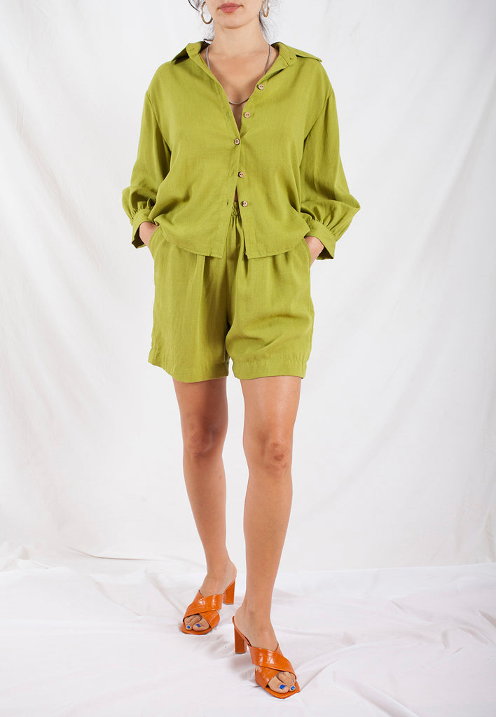vintage green silk linen two piece set - s/m