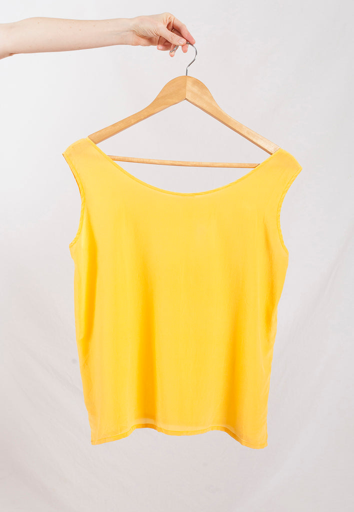 vintage canary yellow silk tank top - M