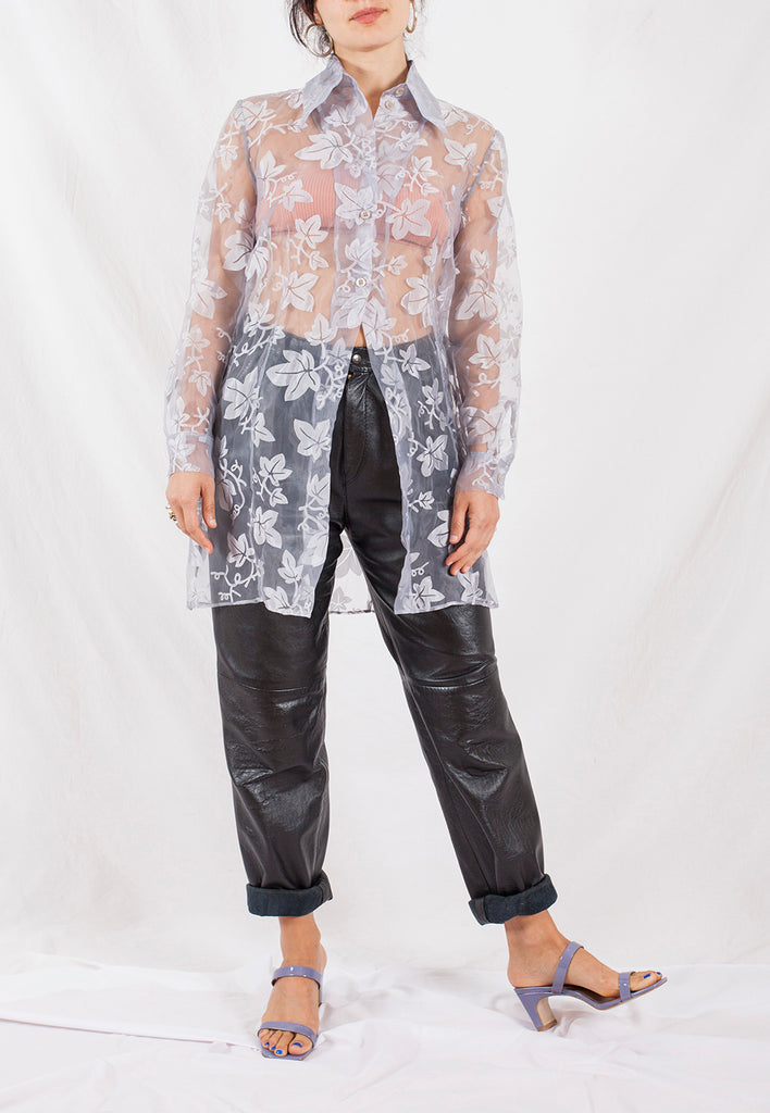 vintage sheer leaf print long shirt - M