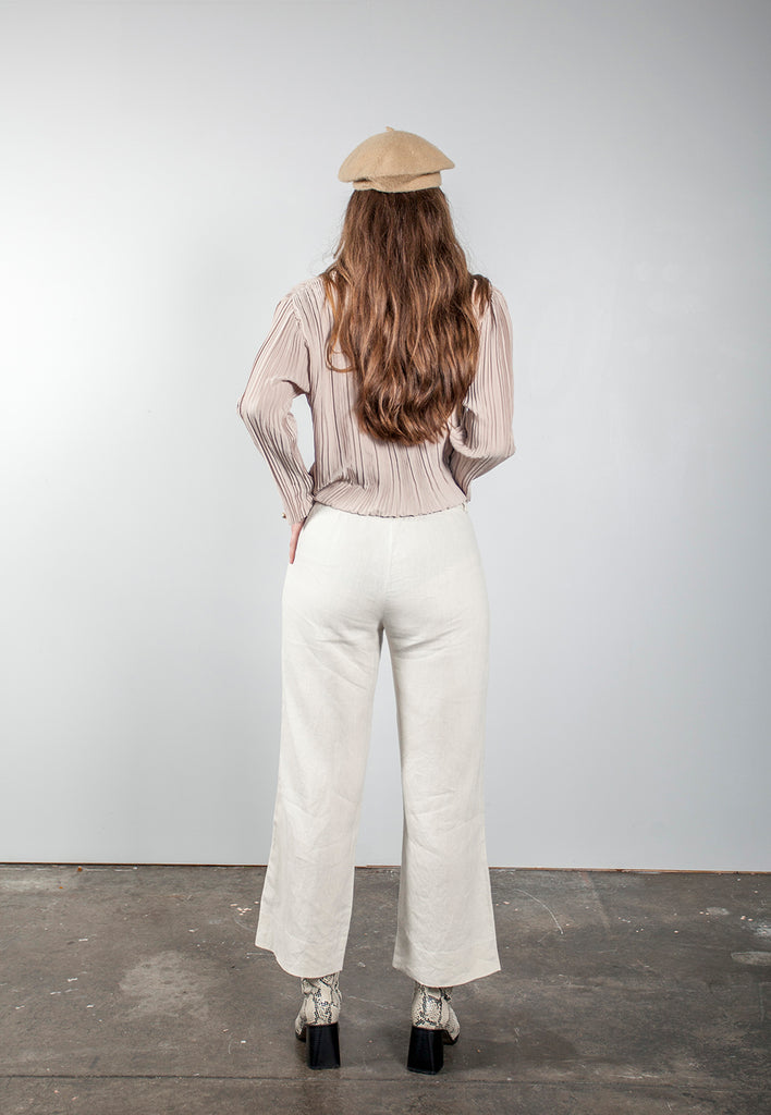 vintage oatmeal linen two piece pant suit - M