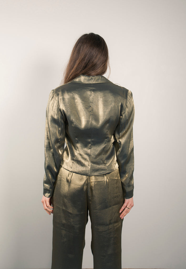 vintage metallic gold two piece pant suit - M / 29""