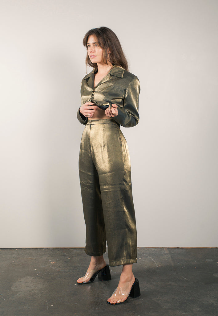 vintage metallic gold two piece pant suit