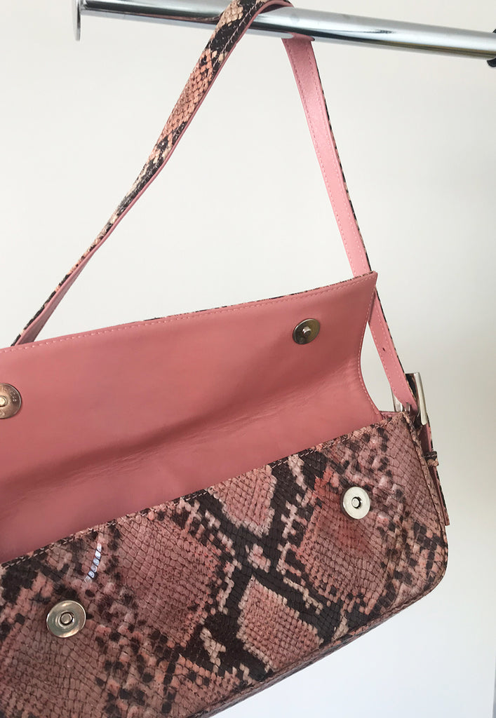 rare vintage pink snake like printed leather handbag
