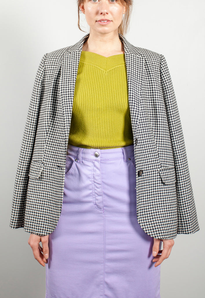 vintage houndstooth black and white plaid wool blazer