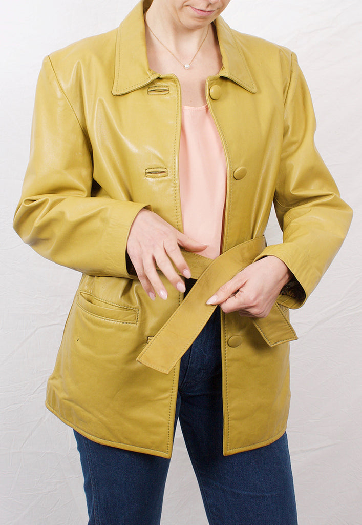 vintage chartreuse green leather jacket - M
