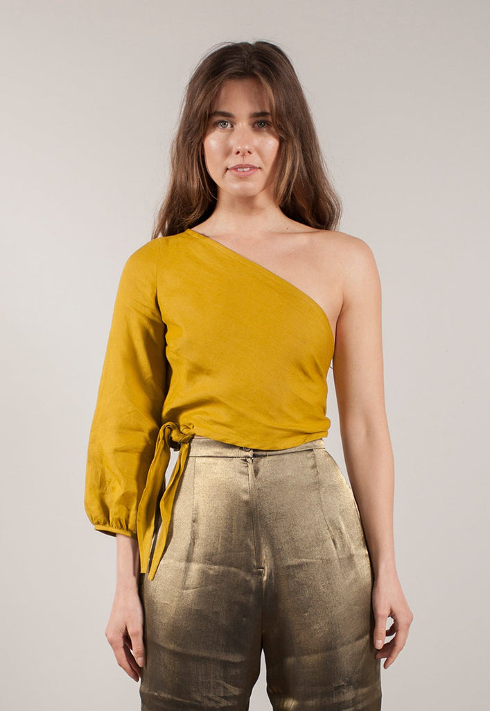graceland green linen 'minna' wrap top