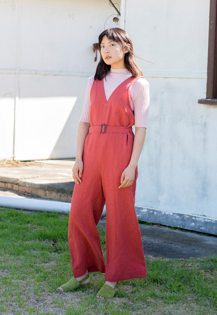 graceland belted terracotta linen jumpsuit
