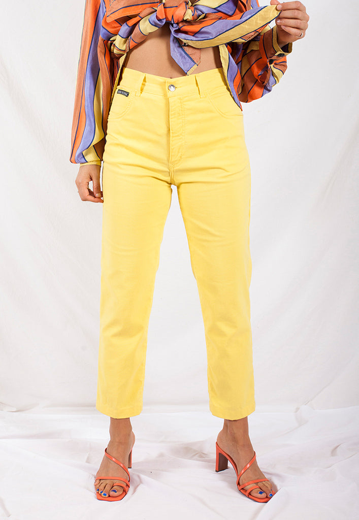 vintage buttercup yellow high waist cotton pants 29""