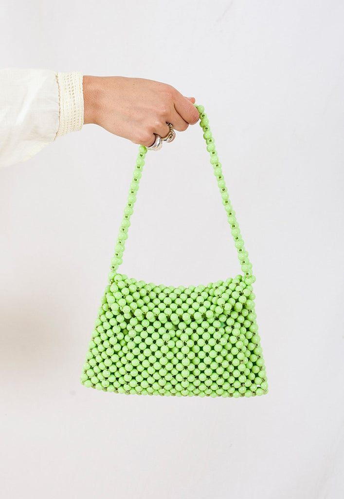 vintage rare lime green beaded handbag made in europe - graceland collection