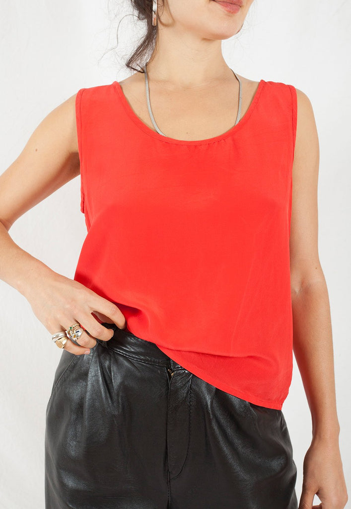 vintage red silk tank top - graceland collection