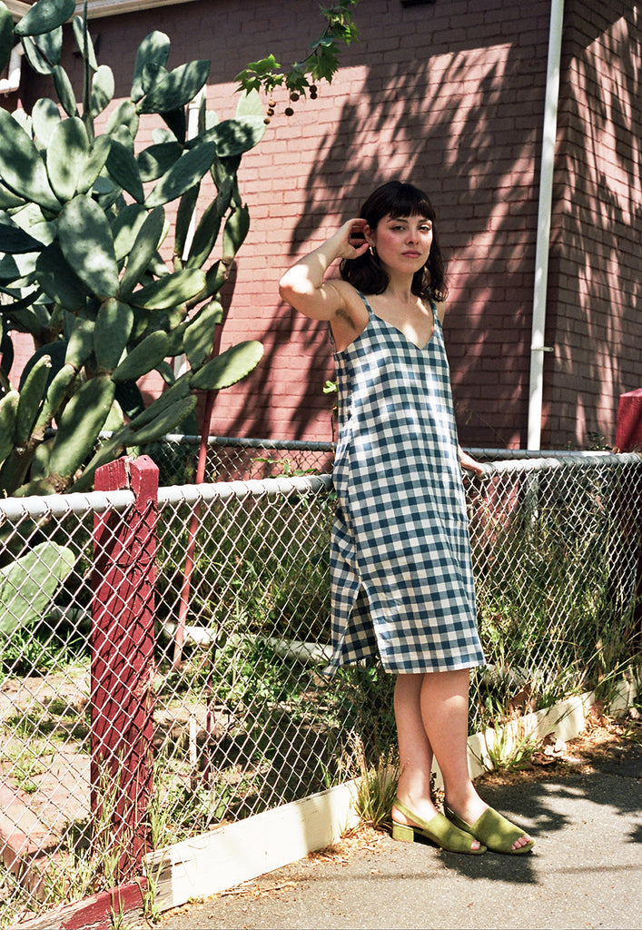 graceland blue gingham slip dress