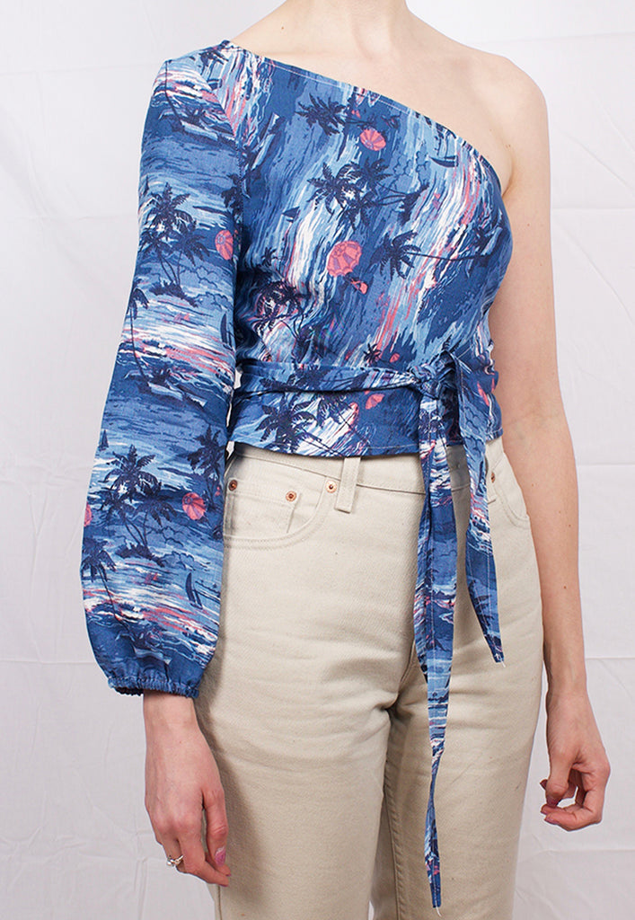 graceland tropical linen 'minna' one shoulder wrap top
