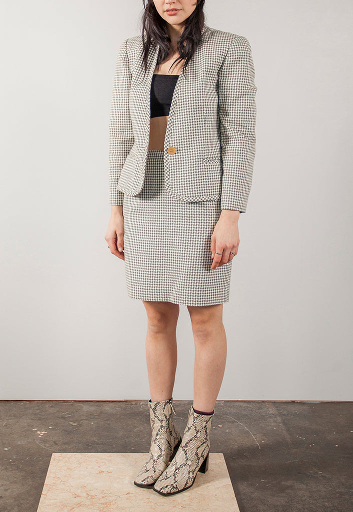 vintage houndstooth co-ord suit set - M