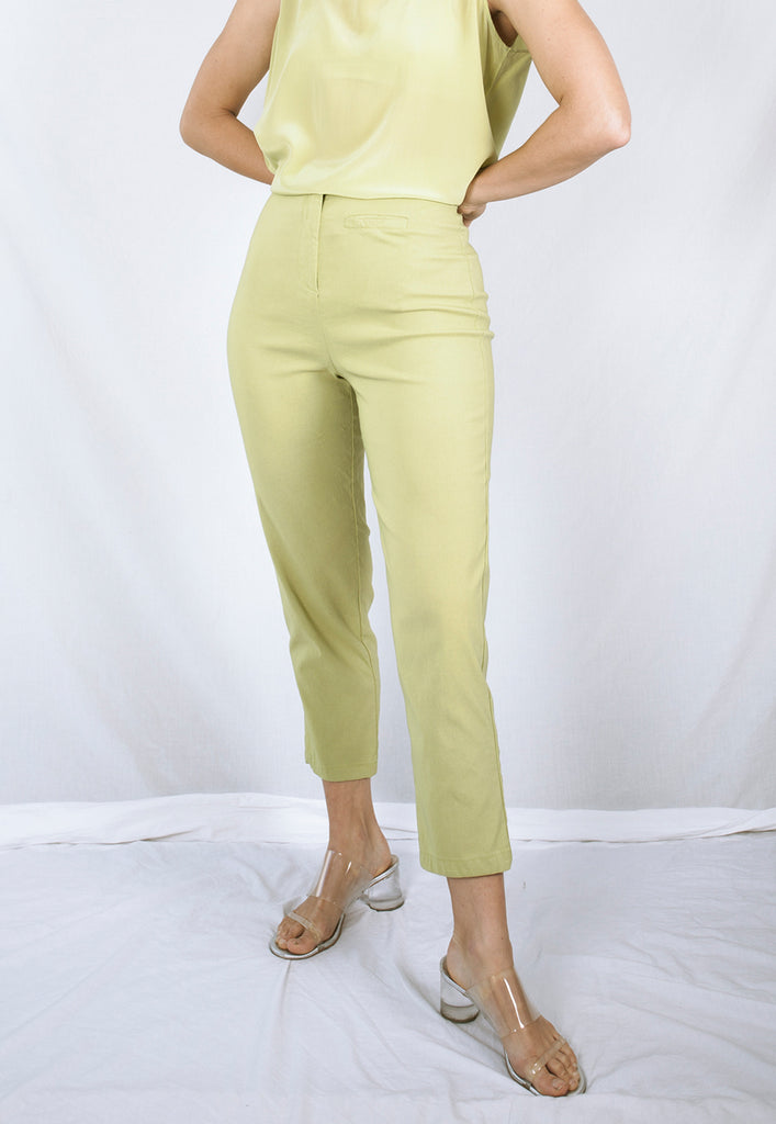 vintage lime green high waist pants