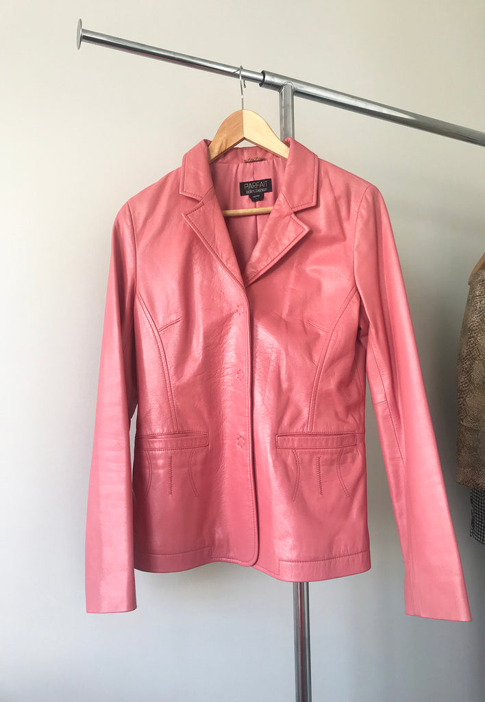 vintage salmon pink italian leather jacket - s/m
