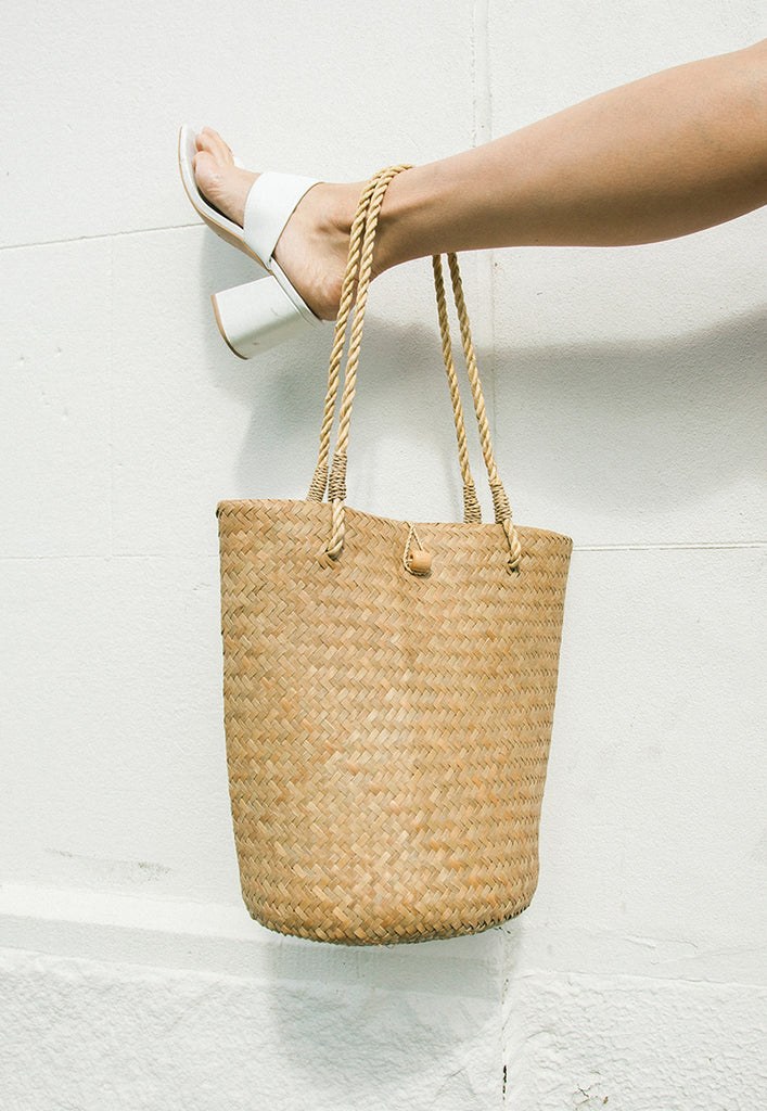handwoven natural straw bucket bag - one left!