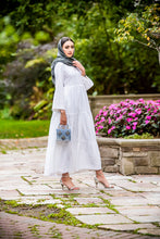 Load image into Gallery viewer, hijab fashion white maxi dress- Wardah Mushtaq