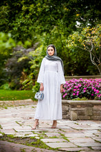 Load image into Gallery viewer, modest white maxi dress- Wardah Mushtaq